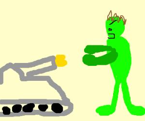 Tank fires at The Hulk, makes him angry
