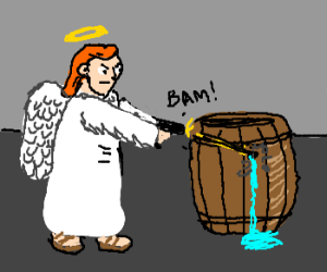 Angel with gun shoots an innocent barrel