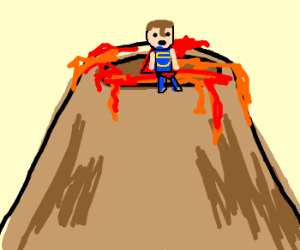 Superman standing in a volcano