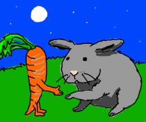 rabbit makes friends with carrots
