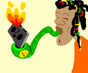 rasta smoking music on a brown snake