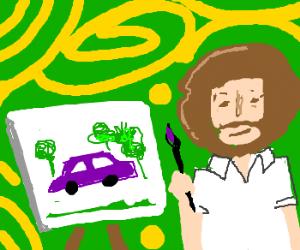 bob ross paints a purple car.