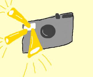 camera flash emits yellow beams