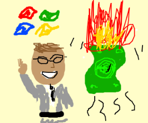 brown bill gates & a flying burning $$$