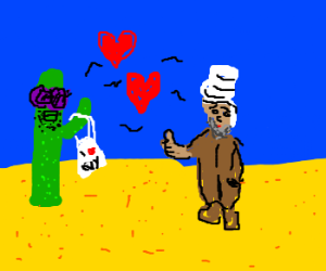 Hipster cactust loves Arabic man.