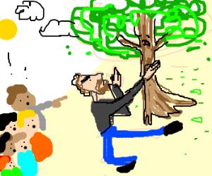 Bearded man hits tree; scares children