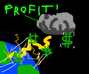 Lightning bolt steals money from Earth.