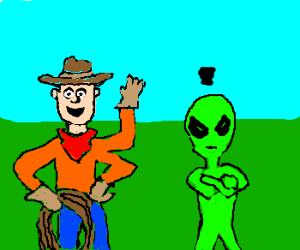 Friendly cowboy w/3arms and a mad Alien