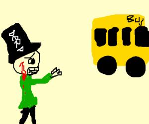 Sad, bleeding retard stares at short bus