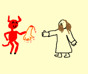 Cheerful devil gives Jesus a severed arm