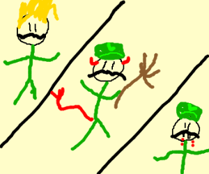 Luigi becomes saiyan, satan, and dracula