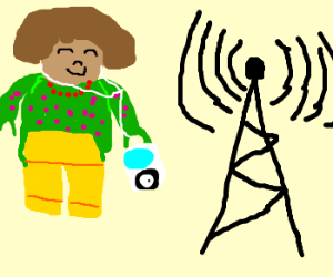 Duplo woman with ipod near radio tower