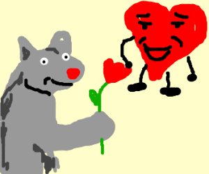 Happy cat gives flower to heart.