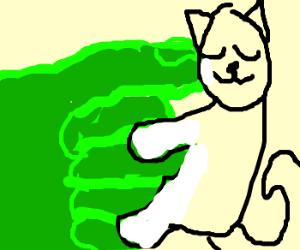 white cat hugs hulk's fist