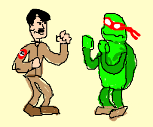 Hitler duking it out with a ninja turtle