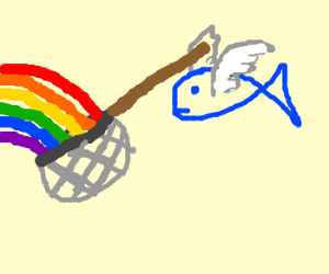 Flying fish catches rainbow