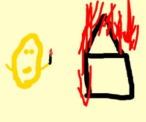 Lemon sets fire to house