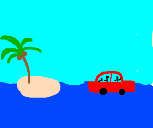Visit Deserted Island in sea by car