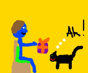 Blue man gives present to alarmed cat