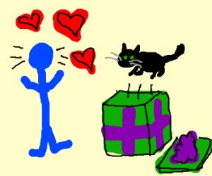 Stickman adores his new black cat.