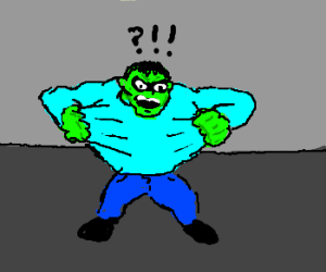 Hulk finds blue shirt that wont rip