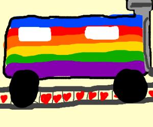 Rainbow train on a heart railway