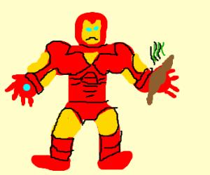 Ironman wielding a giant poo