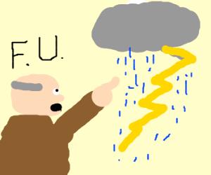 Old man is angry about the weather.