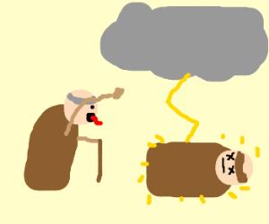 Elderly Monk cusses at lightning storm