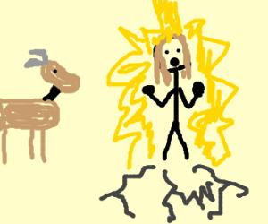 goat man watches lightning strike jesus