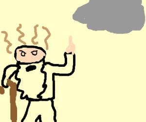 decrepit man curses dumb cloud