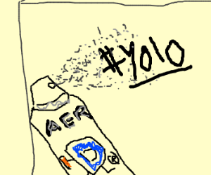 graffiti saying #yolo