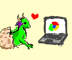 Baby Dragon Imp loves the Internet