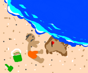 Tide destroys boy's sandcastle