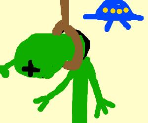 Alien hangs himself