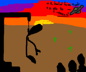 Alien Hanged while UFO watches