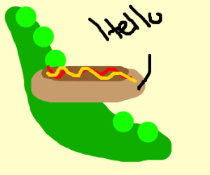 Speaking hotdog appears inside a peapod.