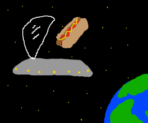 wtf? UFO eating a hot dog??