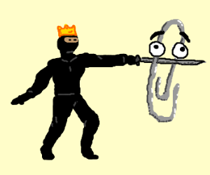 king ninja stabs a paperclip