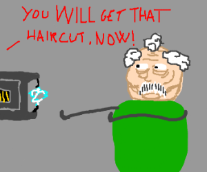 old man is shocked to get a hair cut