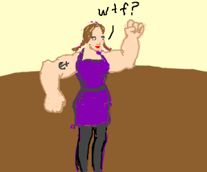 woman with pop-eye like arms asks wtf