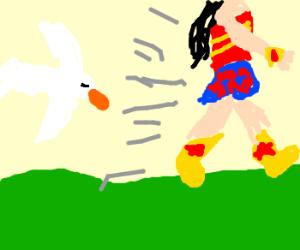 Wonderwoman runs from seagulls