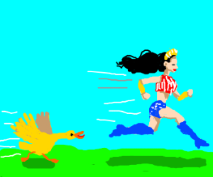 Wonder woman is faster than a duck