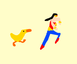 Wonder woman outruns a duck