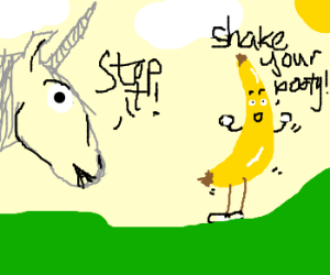 Ugly unicorn tells a banana to stop it