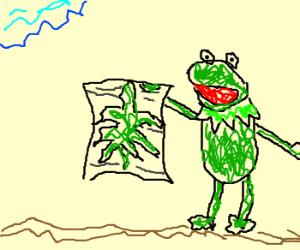 kermit with newpaper sees tumbleweed