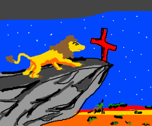 Lion on the roof of a church.