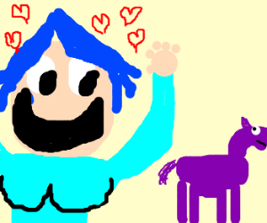 Anime girl loves baby purple horse