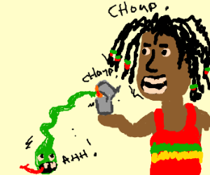Rasta'mon eating lighter eating snake