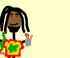 Bob Marley lights a snake on fire
